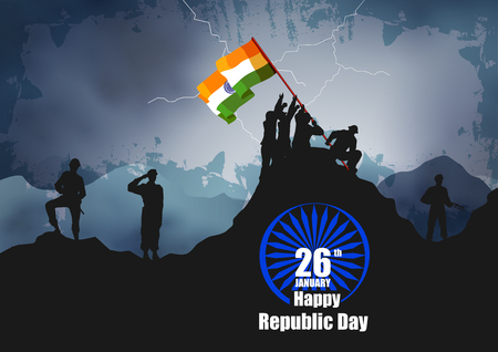 Illustration for vector illustration of Indian army with flag for Happy Republic Day of India - Royalty Free Image
