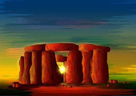 Illustration pour Stonehenge world famous historical monument of Wiltshire, England - image libre de droit