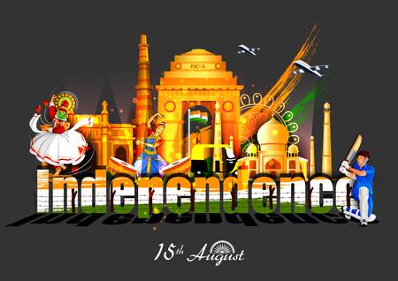 Ilustración de vector illustration of Indian tricolor background for 15th August Happy Independence Day of India - Imagen libre de derechos