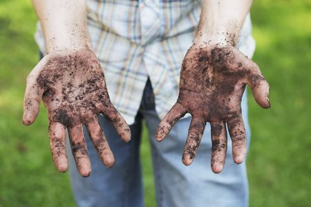 Photo pour A Man showing dirty hands after gardening work - image libre de droit