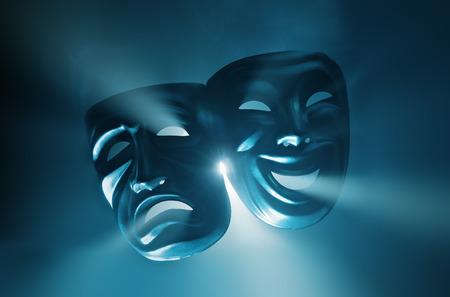 Foto de Crying and smiling masks in hazy light. - Imagen libre de derechos