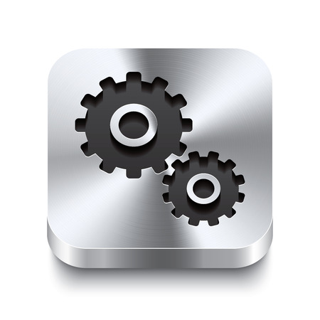 Illustration pour Realistic 3d vector illustration of a square metal button with a gear icon  This brushed steel button is the perfect switch for navigation in any user interface  - image libre de droit