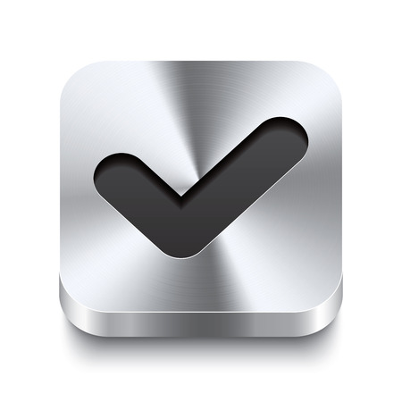 Illustration pour Realistic 3d vector illustration of a square metal button with a checkmark icon  This brushed steel button is the perfect switch for navigation in any user interface  - image libre de droit