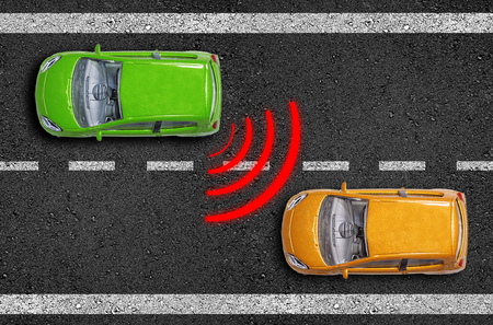 Photo for Asphalt with cars on a road with blind spot assistant - Royalty Free Image