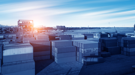 Foto de Industrial Container yard for Logistic Import Export business - Imagen libre de derechos