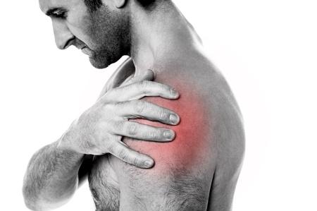 Photo pour Young man having shoulder joint pain, closeup shot  - image libre de droit