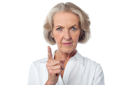 Angry aged woman warning you.