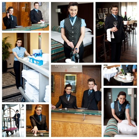 Photo for Hotel collage  Housekeeping staff at work  - Royalty Free Image