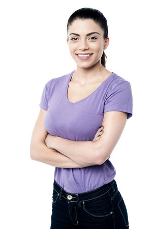 Photo for Confident woman posing with crossed arms - Royalty Free Image