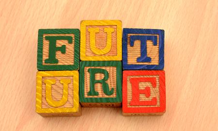 Photo pour Future Words on wood blocks - Futuristic concept - image libre de droit