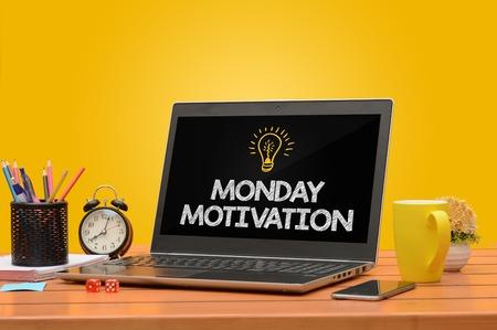 Foto de Monday Motiviation on A laptop with Saturated Background - Imagen libre de derechos