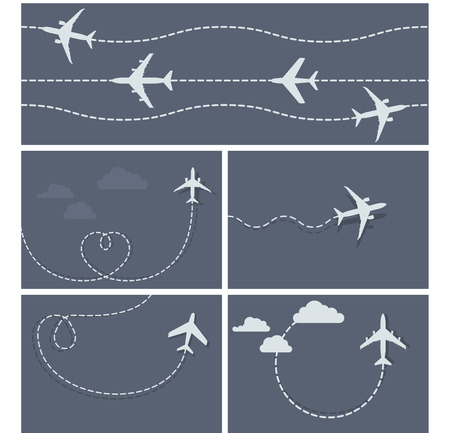 Illustration pour Plane flight - dotted trace of the airplane, heart-shaped and loop - image libre de droit
