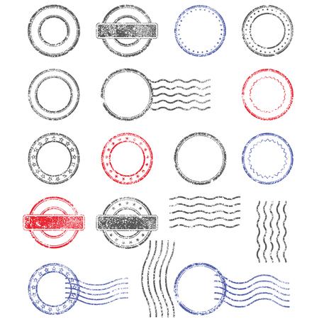 Illustration pour Blank templates of shabby postal stamps of round shape - image libre de droit