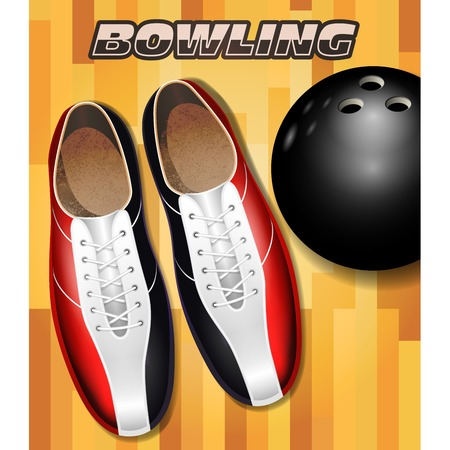 Ilustración de Bowling shoes and ball on bowling court parquet surface - Imagen libre de derechos
