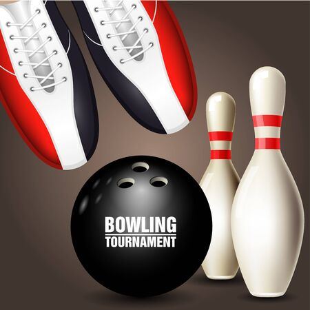 Ilustración de Bowling shoes, skittle and ball - bowling tournament invitation or poster - Imagen libre de derechos