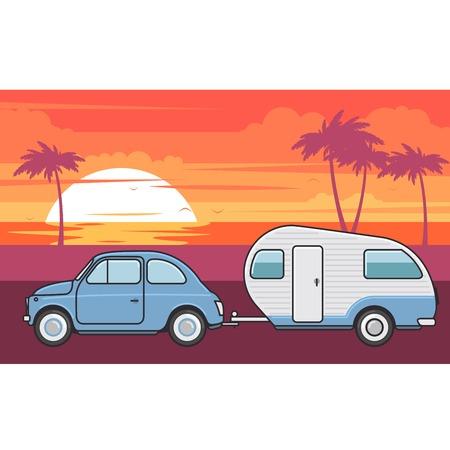 Illustration pour Retro car with camper trailer - summer vacation journey - image libre de droit
