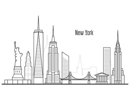 Illustration pour New York city skyline - Manhatten cityscape, towers and landmarks in liner style - image libre de droit