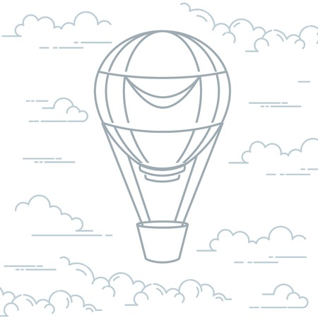 Illustration pour Romantic hot air balloon in clouds - airship in line art style - image libre de droit