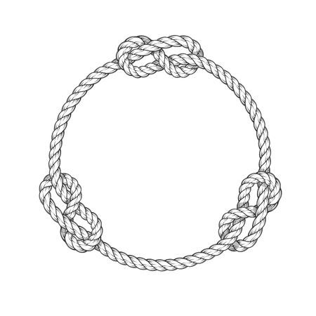 Illustration pour Rope circle - round rope frame with knots, vintage style - image libre de droit