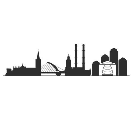 Illustration pour Dublin city skyline - cityscape of capital of Ireland - image libre de droit