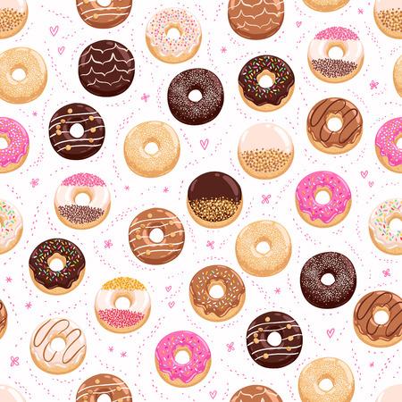 Illustration pour Donuts and little hearts seamless pattern - image libre de droit