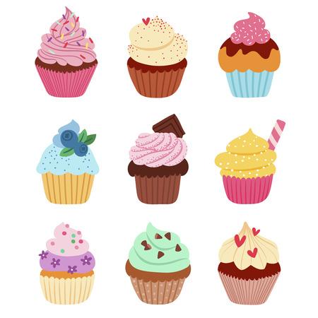 Illustration pour Little delicious cupcakes vector set - image libre de droit