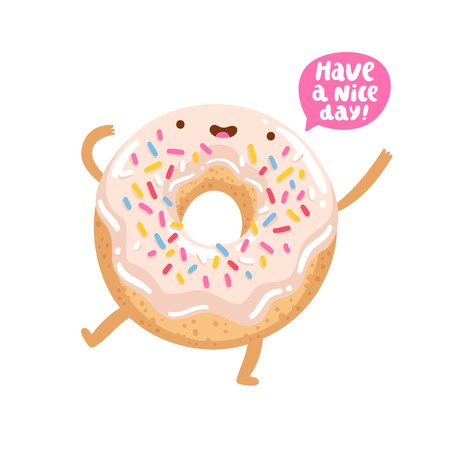 Illustration pour Funny donut character wishing you a good day - image libre de droit