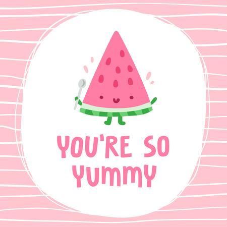 Ilustración de You are so yummy, lovely watermelon card - Imagen libre de derechos