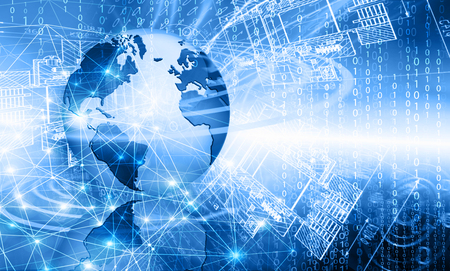 Photo for Best Internet Concept of global business. Globe, glowing lines on technological background. Electronics, Wi-Fi, rays, symbols Internet, television, mobile and satellite communications. Technology illustration - Royalty Free Image