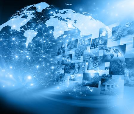 Photo pour Best Internet Concept. Globe, glowing lines on technological background.  - image libre de droit