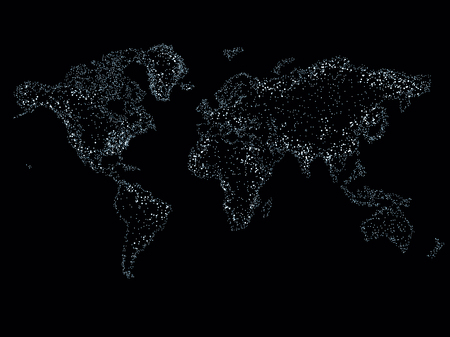 Foto de World map on a technological background, glowing lines symbols of the Internet, radio, television, mobile and satellite communications. - Imagen libre de derechos
