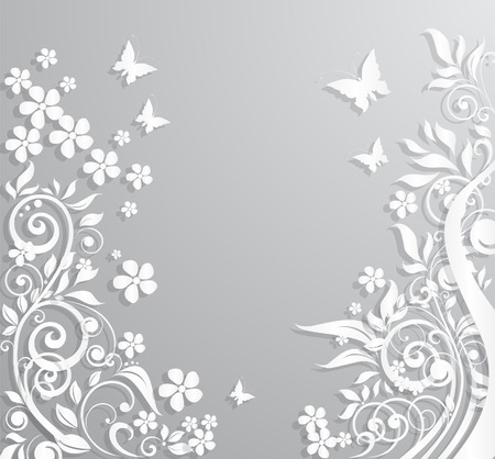 Illustration pour Abstract vector background with paper flowers and butterflies. - image libre de droit