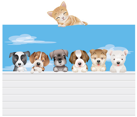 Vector dog family on a fence under supervision of a cat