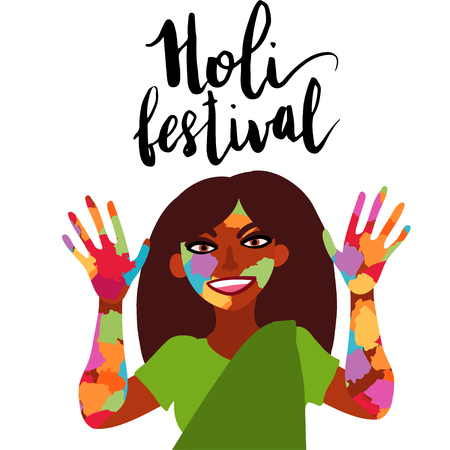 Illustration pour Holi festival of colors. Smiling Indian woman dressed in sari showing hands and face covered in paint flat illustration. - image libre de droit