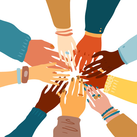 Illustrazione per Illustration of a people's hands with different skin color together holding each other. Race equality, feminism, tolerance art in minimal style. - Immagini Royalty Free