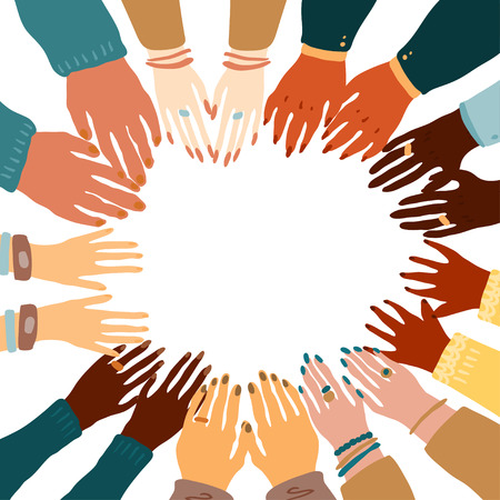 Illustration pour Illustration of a people's hands with different skin color together holding each other. Race equality, feminism, tolerance art in minimal style. - image libre de droit