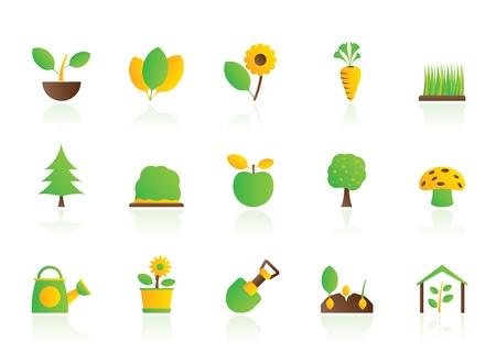 Different Plants and gardening Icons - vector icon set