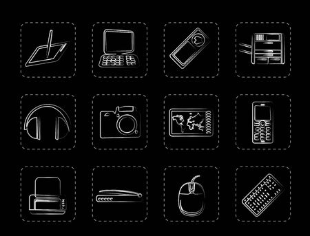 Hi-tech technical equipment icons