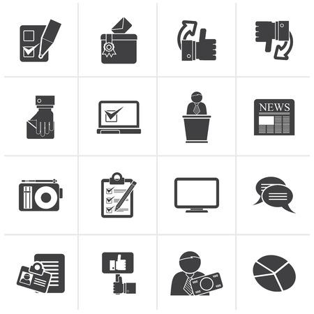 Illustration pour Black Voting and elections icons - vector icon set - image libre de droit