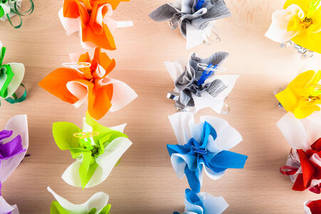 Photo for Photo compliments of guests for wedding table. Multicolor. - Royalty Free Image