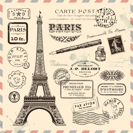 Illustration pour collection of Paris postage design elements - image libre de droit