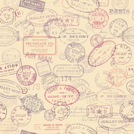 Foto de postage themed background with vintage stamps  tiling  - Imagen libre de derechos