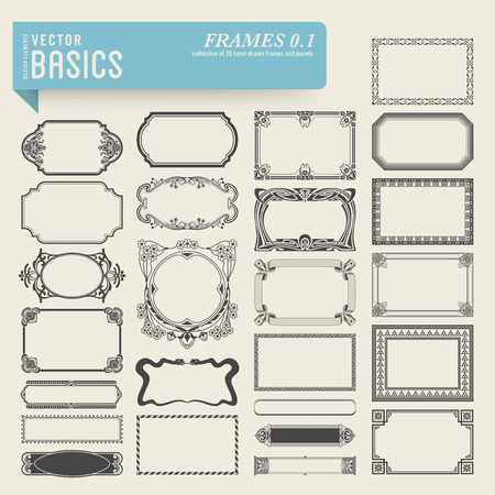 Ilustración de collection of 25 detailed hand-drawn frames and panels - Imagen libre de derechos