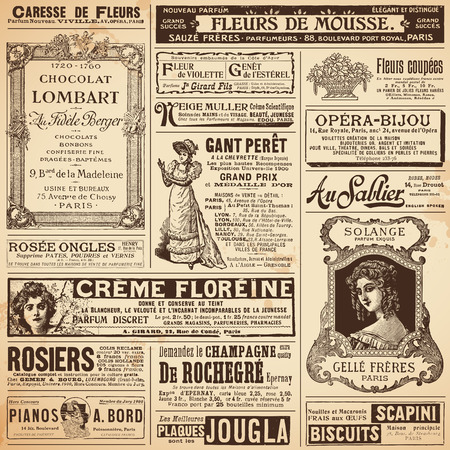 Photo pour background patterns made of french ads on ladies  topics - image libre de droit
