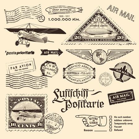 Illustration pour vintage air mail stamps and other postage design elements - image libre de droit