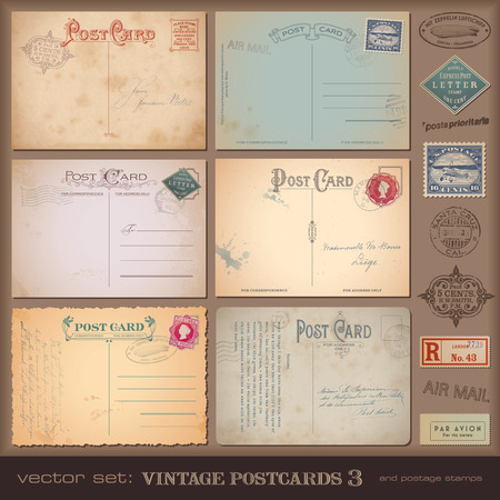 Photo pour set of nostalgic postcards and stamps - image libre de droit