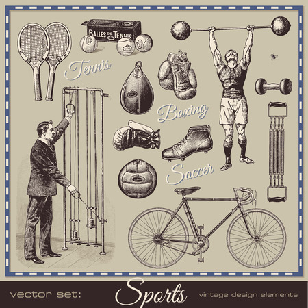 Foto de vector set: sports - collection of retro design elements - Imagen libre de derechos