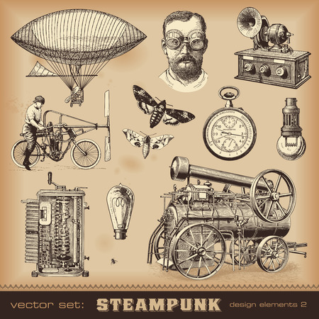 Illustration pour Steampunk design elements - image libre de droit