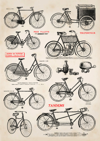 Photo pour collection of vintage bicycle illustrations - image libre de droit