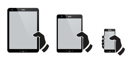 Illustration for Hands holding a tablet with isolated screen - Royalty Free Image